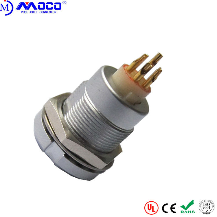 ECG 2B 304 4 Pin Female Circular Push Pull Connectors With Two Nuts PPS Insulator